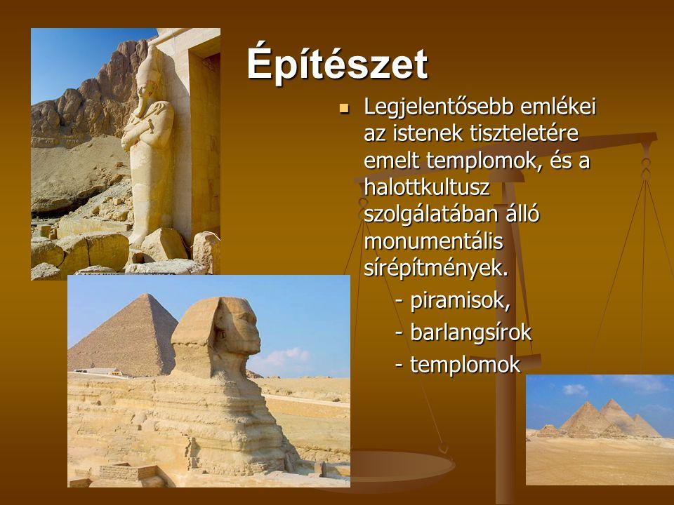 Építészet Legjelentősebb emlékei az istenek tiszteletére emelt templomok, és a halottkultusz szolgálatában álló monumentális sírépítmények. - piramiso