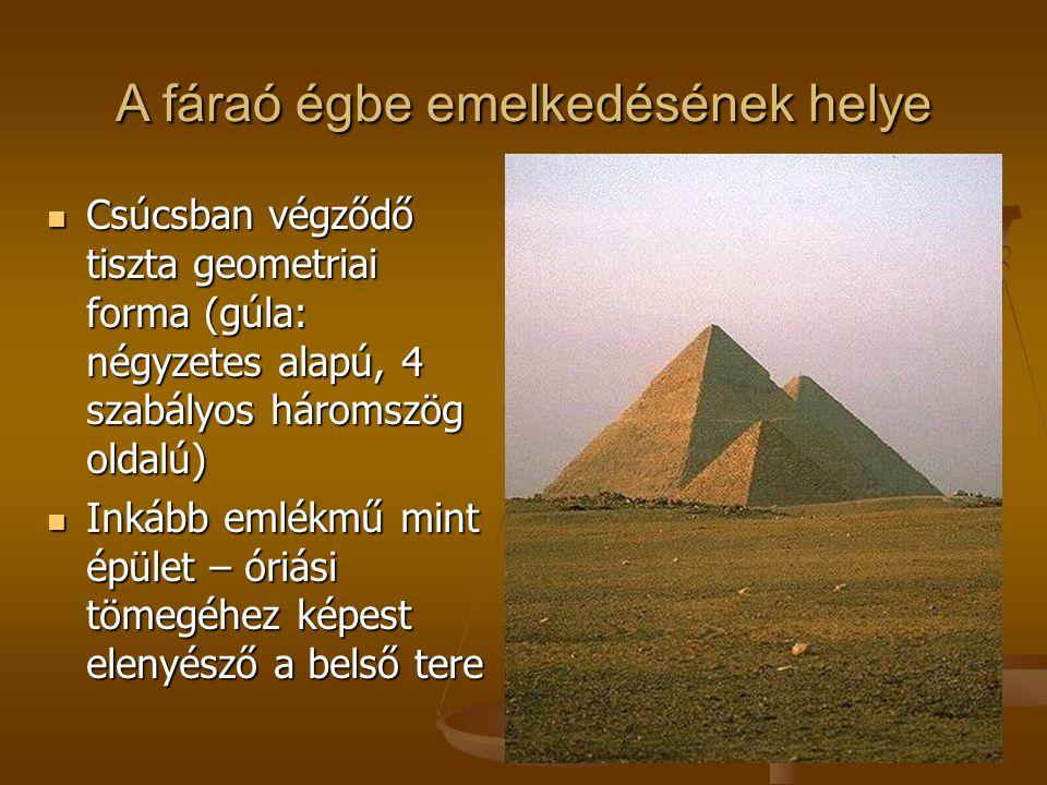 A fáraó égbe emelkedésének helye Csúcsban végződő tiszta geometriai forma (gúla: négyzetes alapú, 4 szabályos háromszög oldalú) Csúcsban végződő tiszt