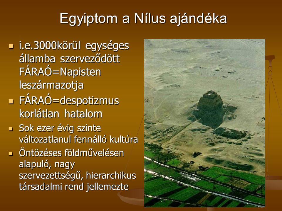 Egyiptom a Nílus ajándéka Egyiptom a Nílus ajándéka i.e.3000körül egységes államba szerveződött FÁRAÓ=Napisten leszármazotja i.e.3000körül egységes ál