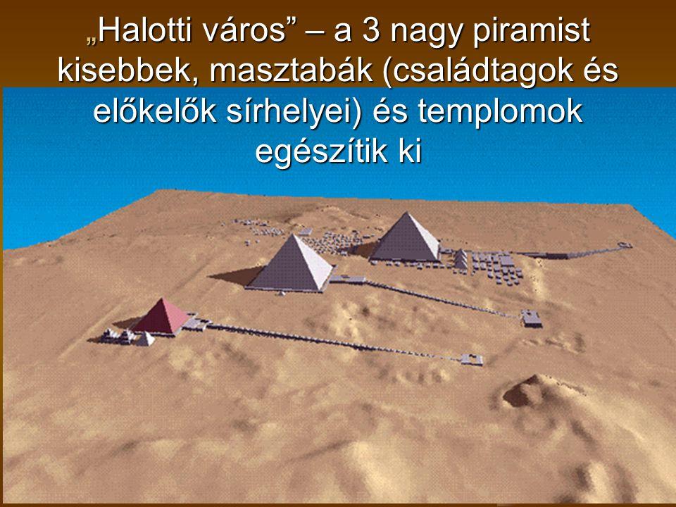 """""""Halotti város"""" – a 3 nagy piramist kisebbek, masztabák (családtagok és előkelők sírhelyei) és templomok egészítik ki"""