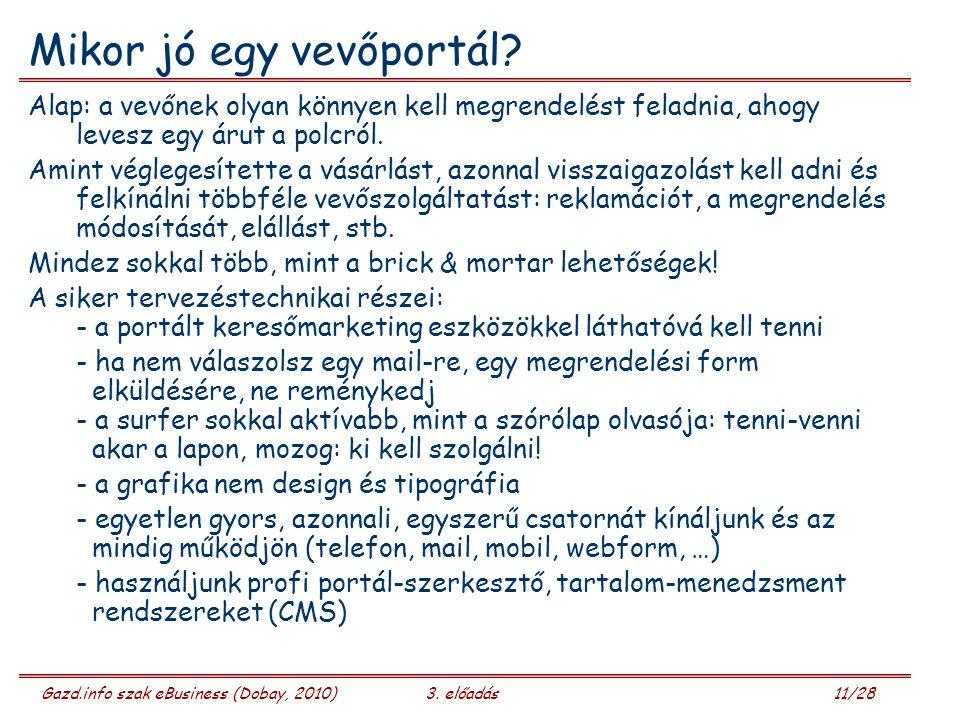 Gazd.info szak eBusiness (Dobay, 2010)3.előadás 12/28 Vállalati portál – eCommerce portál.