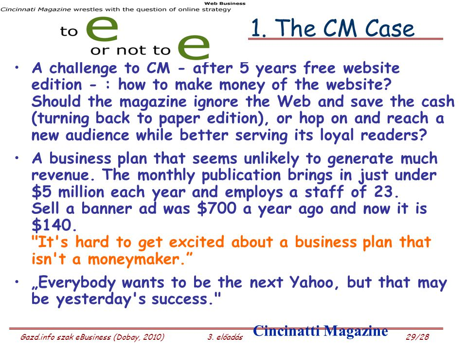 Gazd.info szak eBusiness (Dobay, 2010)3. előadás 29/28 1. The CM Case A challenge to CM - after 5 years free website edition - : how to make money of