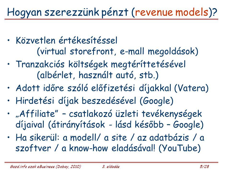 Gazd.info szak eBusiness (Dobay, 2010)3.előadás 6/28 Mi az, mi nagyon megy.