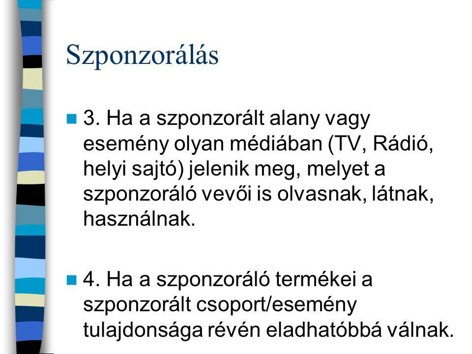 Szponzorálás 3. Ha a szponzorált alany vagy esemény olyan médiában (TV, Rádió, helyi sajtó) jelenik meg, melyet a szponzoráló vevői is olvasnak, látna