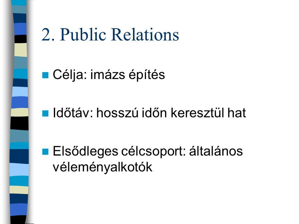 2. Public Relations Célja: imázs építés Időtáv: hosszú időn keresztül hat Elsődleges célcsoport: általános véleményalkotók