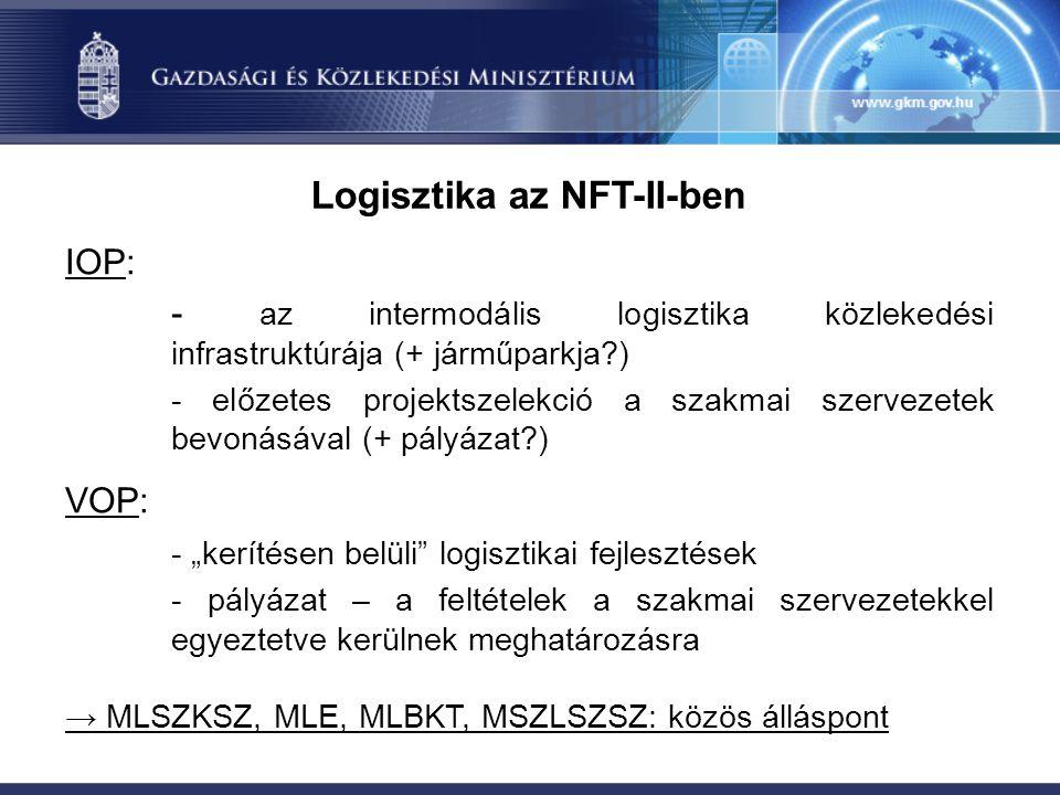 """Logisztika az NFT-II-ben IOP: - az intermodális logisztika közlekedési infrastruktúrája (+ járműparkja ) - előzetes projektszelekció a szakmai szervezetek bevonásával (+ pályázat ) VOP: - """"kerítésen belüli logisztikai fejlesztések - pályázat – a feltételek a szakmai szervezetekkel egyeztetve kerülnek meghatározásra → MLSZKSZ, MLE, MLBKT, MSZLSZSZ: közös álláspont"""
