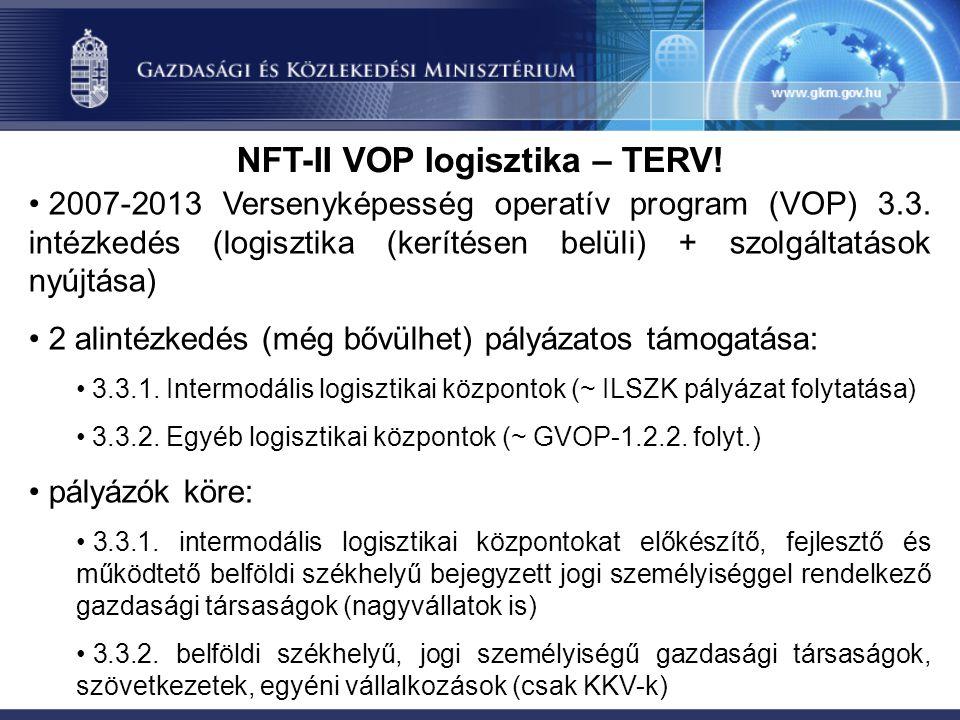 NFT-II VOP logisztika – TERV. 2007-2013 Versenyképesség operatív program (VOP) 3.3.