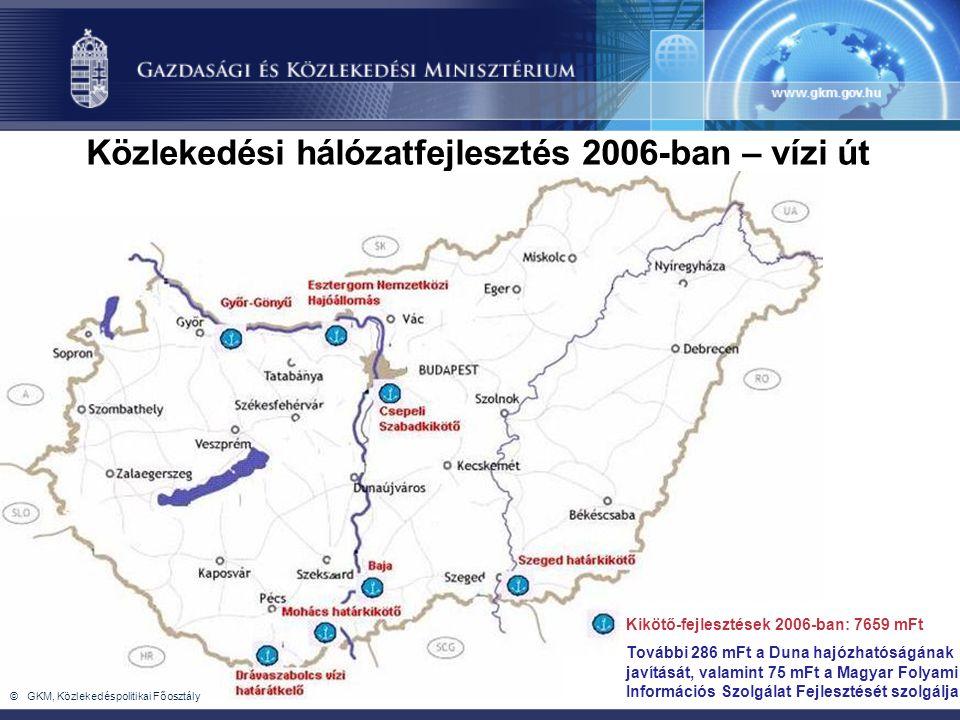 Közlekedési hálózatfejlesztés 2006-ban – vízi út Kikötő-fejlesztések 2006-ban: 7659 mFt További 286 mFt a Duna hajózhatóságának javítását, valamint 75 mFt a Magyar Folyami Információs Szolgálat Fejlesztését szolgálja © GKM, Közlekedéspolitikai Főosztály