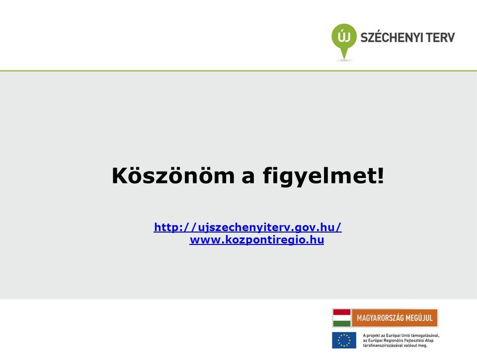 Köszönöm a figyelmet! http://ujszechenyiterv.gov.hu/ www.kozpontiregio.hu