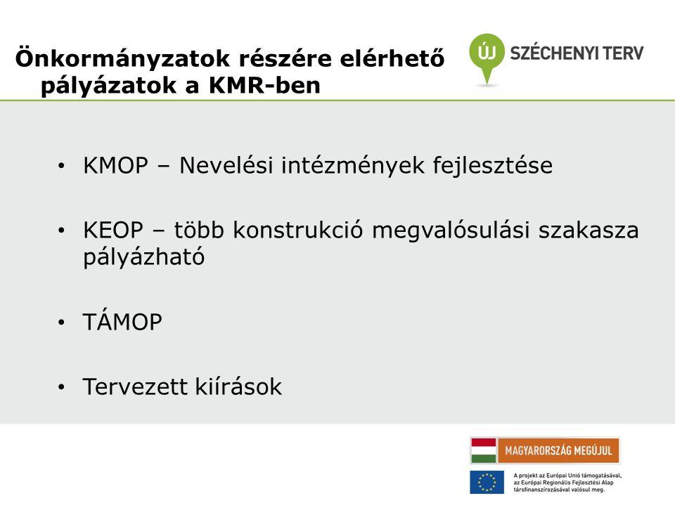 KMOP – Nevelési intézmények fejlesztése KEOP – több konstrukció megvalósulási szakasza pályázható TÁMOP Tervezett kiírások Önkormányzatok részére elérhető pályázatok a KMR-ben