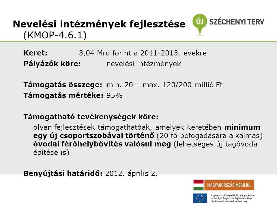 Keret: 3,04 Mrd forint a 2011-2013. évekre Pályázók köre: nevelési intézmények Támogatás összege: min. 20 – max. 120/200 millió Ft Támogatás mértéke: