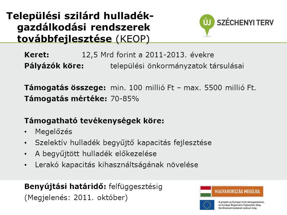 Keret: 12,5 Mrd forint a 2011-2013. évekre Pályázók köre: települési önkormányzatok társulásai Támogatás összege: min. 100 millió Ft – max. 5500 milli