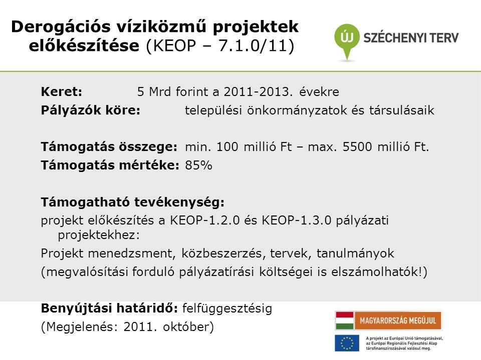 Keret: 5 Mrd forint a 2011-2013. évekre Pályázók köre: települési önkormányzatok és társulásaik Támogatás összege: min. 100 millió Ft – max. 5500 mill