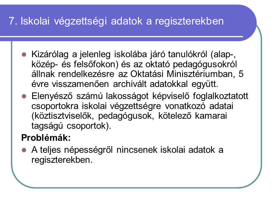 7. Iskolai végzettségi adatok a regiszterekben Kizárólag a jelenleg iskolába járó tanulókról (alap-, közép- és felsőfokon) és az oktató pedagógusokról