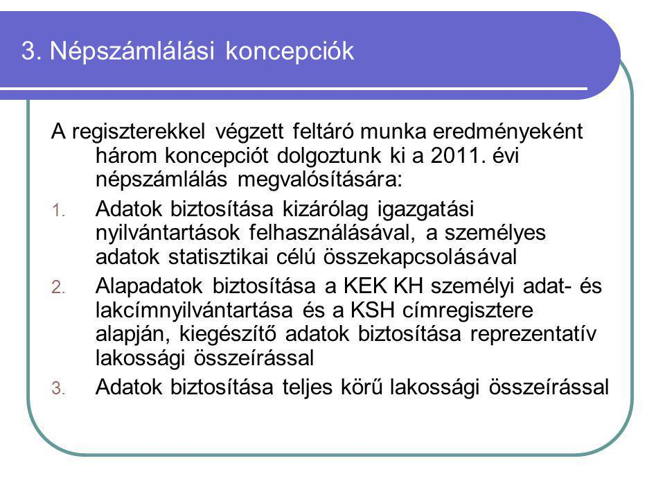 3. Népszámlálási koncepciók A regiszterekkel végzett feltáró munka eredményeként három koncepciót dolgoztunk ki a 2011. évi népszámlálás megvalósításá
