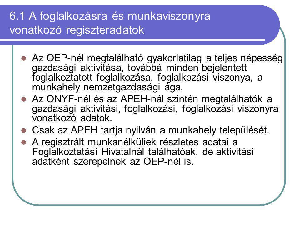 6.1 A foglalkozásra és munkaviszonyra vonatkozó regiszteradatok Az OEP-nél megtalálható gyakorlatilag a teljes népesség gazdasági aktivitása, továbbá minden bejelentett foglalkoztatott foglalkozása, foglalkozási viszonya, a munkahely nemzetgazdasági ága.