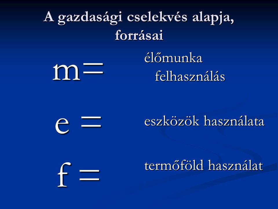 A gazdasági cselekvés alapja, forrásai m= e = f = élőmunka felhasználás eszközök használata termőföld használat