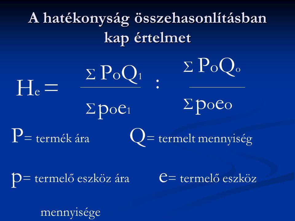 A hatékonyság összehasonlításban kap értelmet H e = Σ PoQoΣ PoQo Σ poeoΣ poeo : Σ PoQ1Σ PoQ1 Σ poe1Σ poe1 P = termék ára Q = termelt mennyiség p = ter