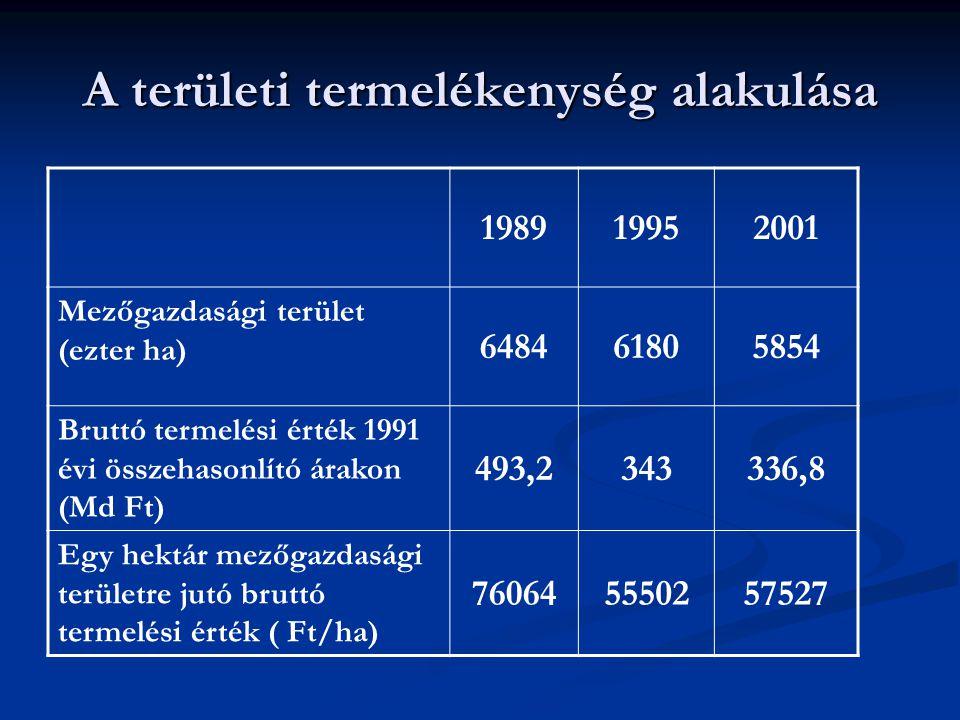 A területi termelékenység alakulása 198919952001 Mezőgazdasági terület (ezter ha) 648461805854 Bruttó termelési érték 1991 évi összehasonlító árakon (