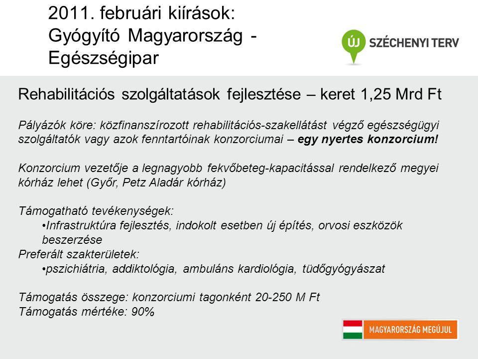 2011. februári kiírások: Gyógyító Magyarország - Egészségipar Rehabilitációs szolgáltatások fejlesztése – keret 1,25 Mrd Ft Pályázók köre: közfinanszí