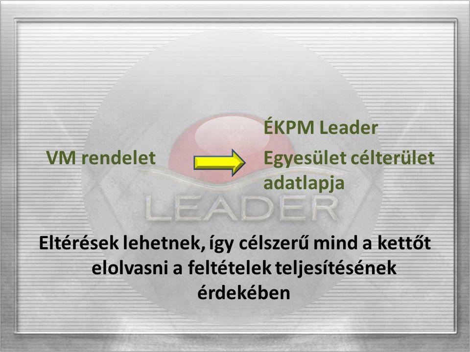 ÉKPM Leader VM rendeletEgyesület célterület adatlapja Eltérések lehetnek, így célszerű mind a kettőt elolvasni a feltételek teljesítésének érdekében