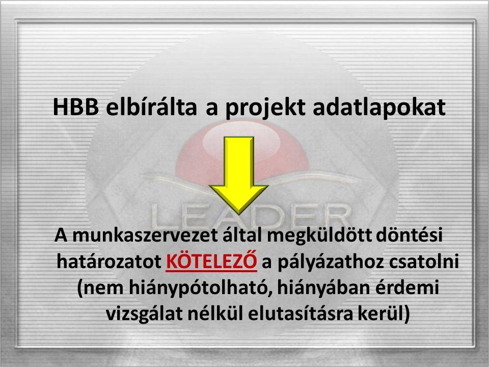 HBB elbírálta a projekt adatlapokat A munkaszervezet által megküldött döntési határozatot KÖTELEZŐ a pályázathoz csatolni (nem hiánypótolható, hiányáb