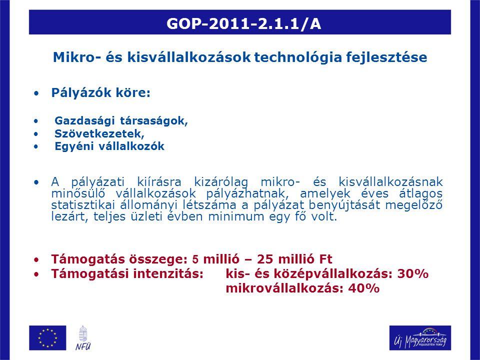GOP-2011-2.1.1/A Mikro- és kisvállalkozások technológia fejlesztése Pályázók köre: Gazdasági társaságok, Szövetkezetek, Egyéni vállalkozók A pályázati kiírásra kizárólag mikro- és kisvállalkozásnak minősülő vállalkozások pályázhatnak, amelyek éves átlagos statisztikai állományi létszáma a pályázat benyújtását megelőző lezárt, teljes üzleti évben minimum egy fő volt.