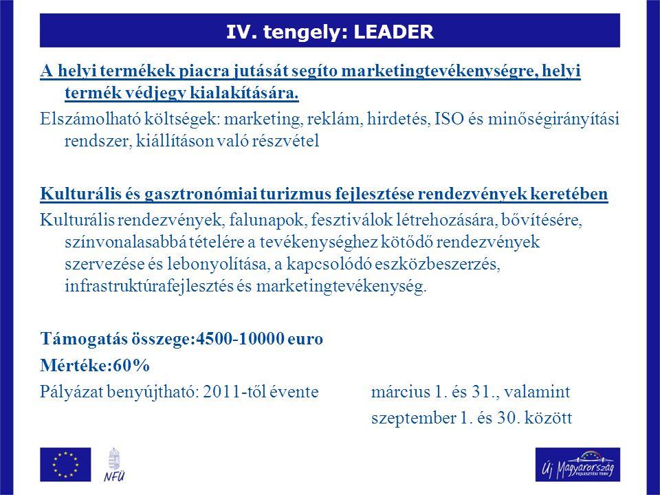 IV. tengely: LEADER A helyi termékek piacra jutását segíto marketingtevékenységre, helyi termék védjegy kialakítására. Elszámolható költségek: marketi