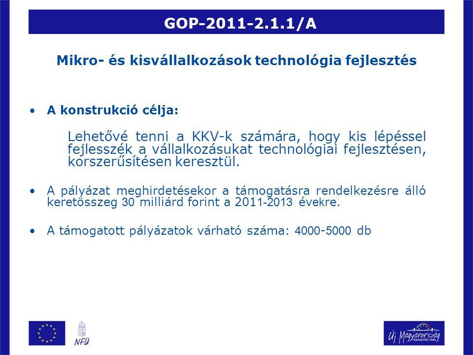 GOP-2011-2.1.1/A Mikro- és kisvállalkozások technológia fejlesztés A konstrukció célja: Lehetővé tenni a KKV-k számára, hogy kis lépéssel fejlesszék a vállalkozásukat technológiai fejlesztésen, korszerűsítésen keresztül.