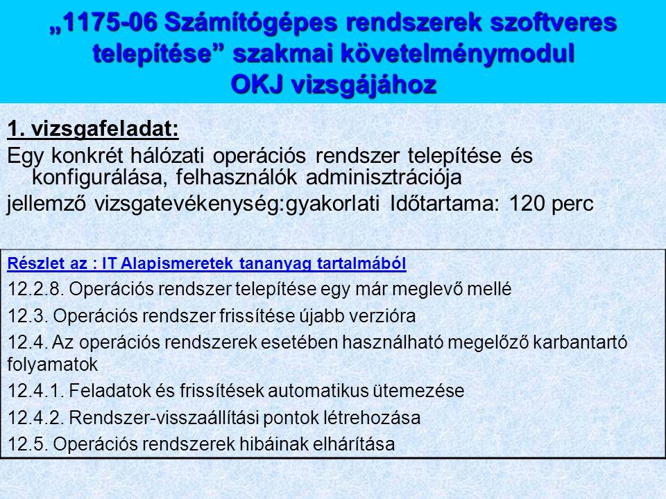 """""""1175-06 Számítógépes rendszerek szoftveres telepítése"""" szakmai követelménymodul OKJ vizsgájához 1. vizsgafeladat: Egy konkrét hálózati operációs rend"""