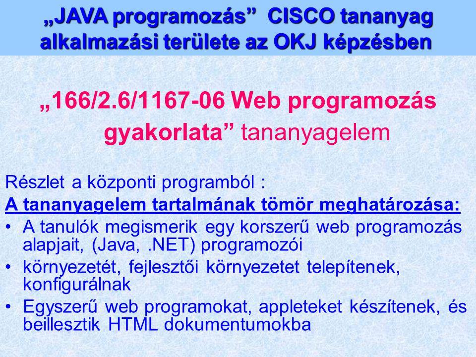 """""""166/2.6/1167-06 Web programozás gyakorlata"""" tananyagelem Részlet a központi programból : A tananyagelem tartalmának tömör meghatározása: A tanulók me"""