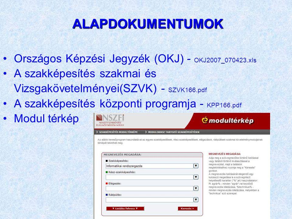 ALAPDOKUMENTUMOK ALAPDOKUMENTUMOK Országos Képzési Jegyzék (OKJ) - OKJ2007_070423.xls A szakképesítés szakmai és Vizsgakövetelményei(SZVK) - SZVK166.p
