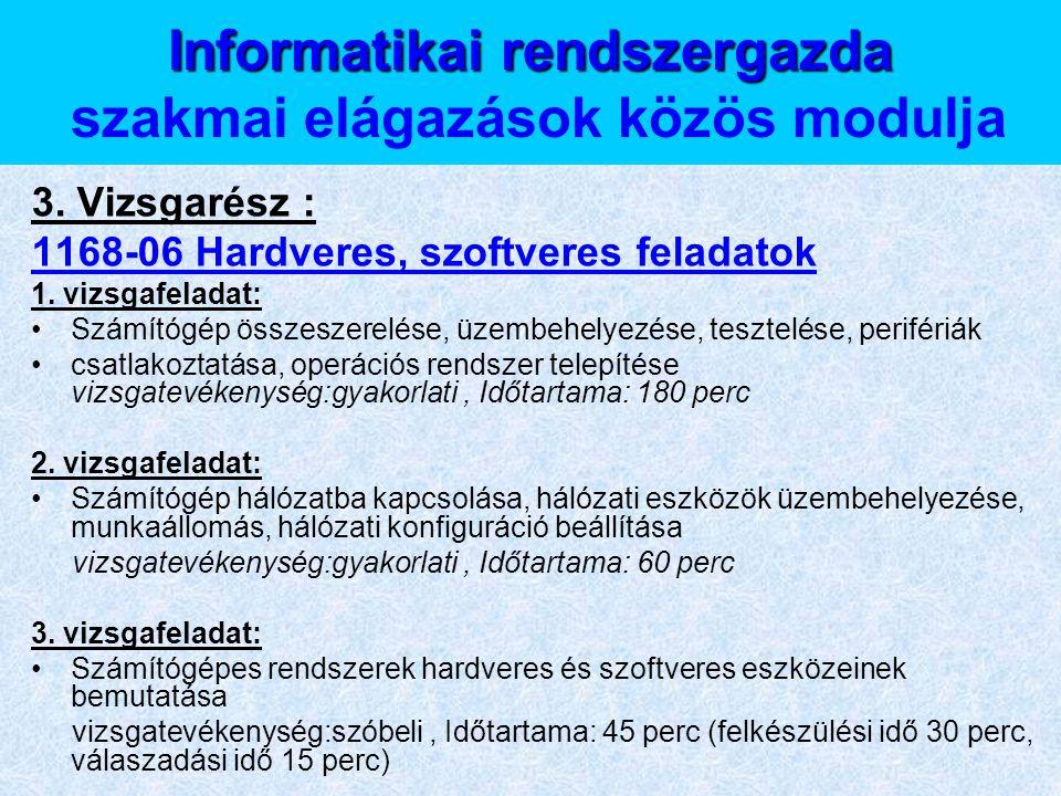 Informatikai rendszergazda Informatikai rendszergazda szakmai elágazások közös modulja 3. Vizsgarész : 1168-06 Hardveres, szoftveres feladatok 1. vizs