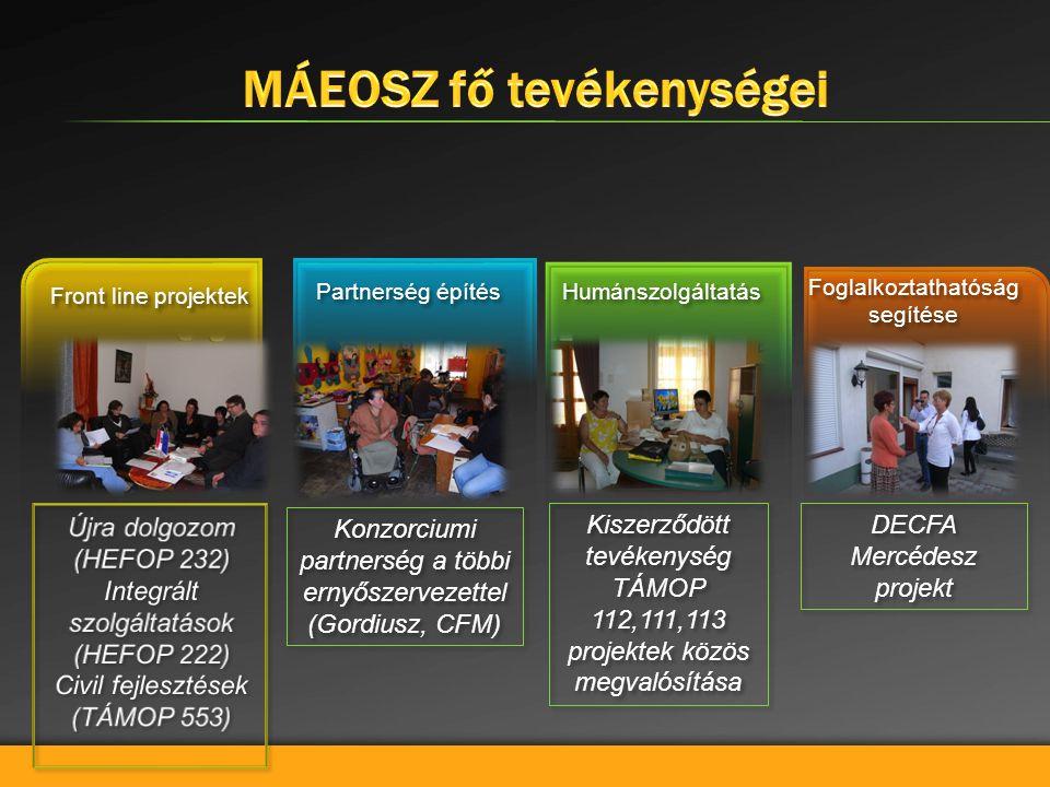 Újra dolgozom (HEFOP 232) Integrált szolgáltatások (HEFOP 222) Civil fejlesztések (TÁMOP 553) Újra dolgozom (HEFOP 232) Integrált szolgáltatások (HEFOP 222) Civil fejlesztések (TÁMOP 553) Front line projektek Partnerség építés Humánszolgáltatás Konzorciumi partnerség a többi ernyőszervezettel (Gordiusz, CFM) Konzorciumi partnerség a többi ernyőszervezettel (Gordiusz, CFM) Kiszerződött tevékenység TÁMOP 112,111,113 projektek közös megvalósítása Kiszerződött tevékenység TÁMOP 112,111,113 projektek közös megvalósítása DECFA Mercédesz projekt Foglalkoztathatóság segítése