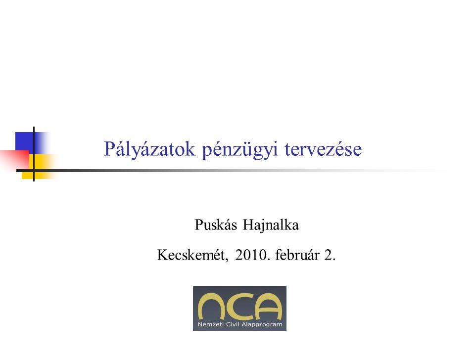 Pályázatok pénzügyi tervezése Puskás Hajnalka Kecskemét, 2010. február 2.