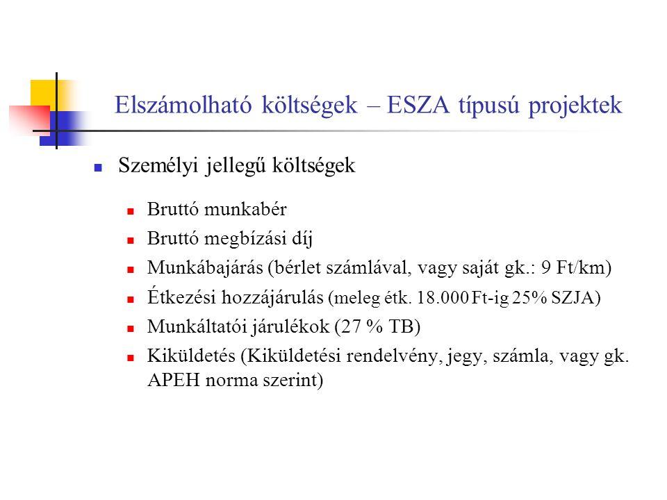 Elszámolható költségek – ESZA típusú projektek Személyi jellegű költségek Bruttó munkabér Bruttó megbízási díj Munkábajárás (bérlet számlával, vagy saját gk.: 9 Ft/km) Étkezési hozzájárulás (meleg étk.
