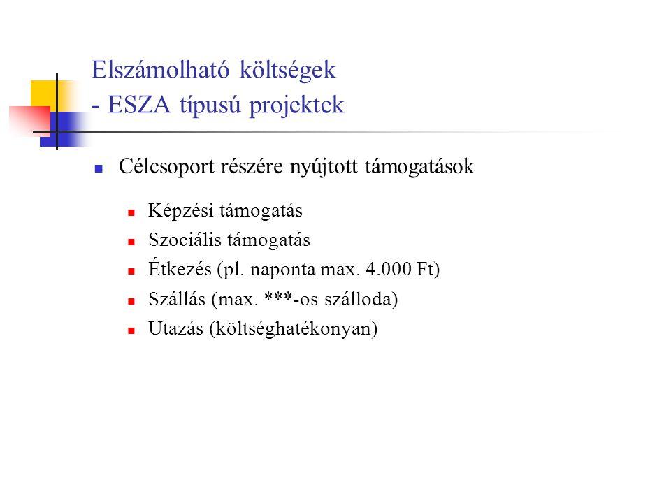 Elszámolható költségek - ESZA típusú projektek Célcsoport részére nyújtott támogatások Képzési támogatás Szociális támogatás Étkezés (pl.