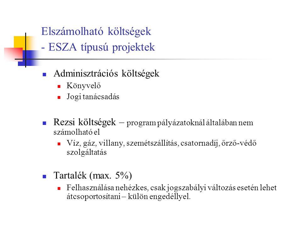 Elszámolható költségek - ESZA típusú projektek Adminisztrációs költségek Könyvelő Jogi tanácsadás Rezsi költségek – program pályázatoknál általában nem számolható el Víz, gáz, villany, szemétszállítás, csatornadíj, őrző-védő szolgáltatás Tartalék (max.