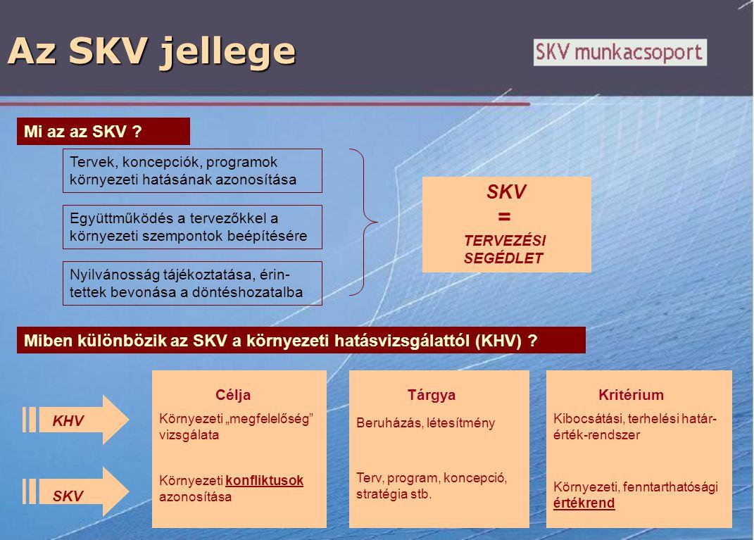 Az SKV jellege Mi az az SKV ? Tervek, koncepciók, programok környezeti hatásának azonosítása Együttműködés a tervezőkkel a környezeti szempontok beépí