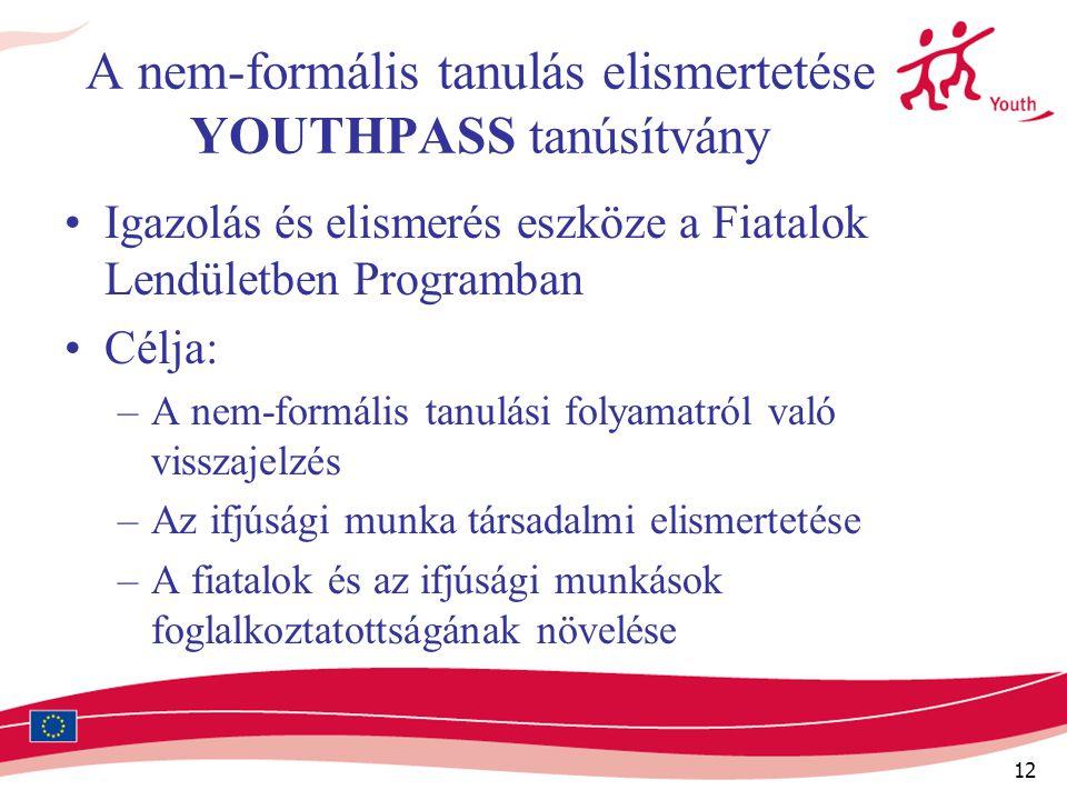 12 A nem-formális tanulás elismertetése YOUTHPASS tanúsítvány Igazolás és elismerés eszköze a Fiatalok Lendületben Programban Célja: –A nem-formális t