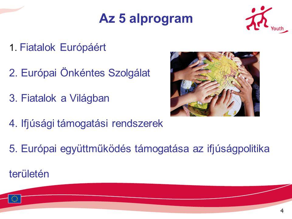 4 Az 5 alprogram 1. Fiatalok Európáért 2. Európai Önkéntes Szolgálat 3. Fiatalok a Világban 4. Ifjúsági támogatási rendszerek 5. Európai együttműködés