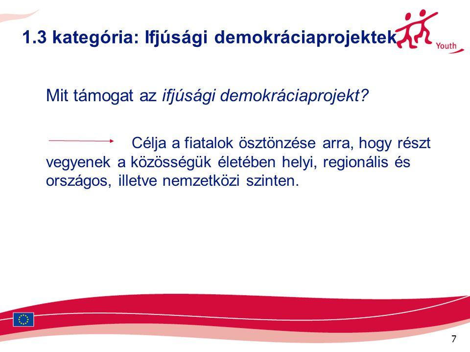 7 1.3 kategória: Ifjúsági demokráciaprojektek Mit támogat az ifjúsági demokráciaprojekt? Célja a fiatalok ösztönzése arra, hogy részt vegyenek a közös