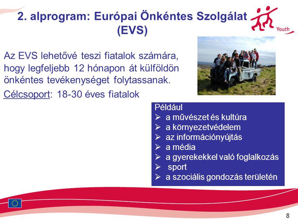 8 2. alprogram: Európai Önkéntes Szolgálat (EVS) Az EVS lehetővé teszi fiatalok számára, hogy legfeljebb 12 hónapon át külföldön önkéntes tevékenysége