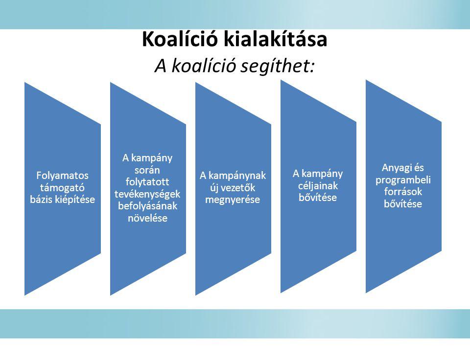 Koalíció kialakítása A koalíció segíthet: Folyamatos támogató bázis kiépítése A kampány során folytatott tevékenységek befolyásának növelése A kampánynak új vezetők megnyerése A kampány céljainak bővítése Anyagi és programbeli források bővítése
