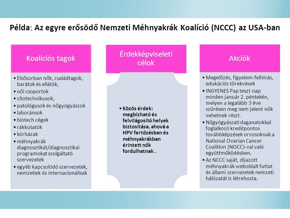 Példa: Az egyre erősödő Nemzeti Méhnyakrák Koalíció (NCCC) az USA-ban Koalíciós tagok Elsősorban nők, családtagok, barátok és ellátók, női csoportok citotechnikusok, patológusok és nőgyógyászok laboránsok biotech cégek rákkutatók kórházak méhnyakrák diagnosztikát/diagnosztikai programokat szolgáltató szervezetek egyéb kapcsolódó szervezetek, nemzetiek és internacionálisak Érdekképviseleti célok Közös érdek: megbízható és felvilágosító helyek biztosítása, ahová a HPV fertőzésben és méhnyakrákban érintett nők fordulhatnak.