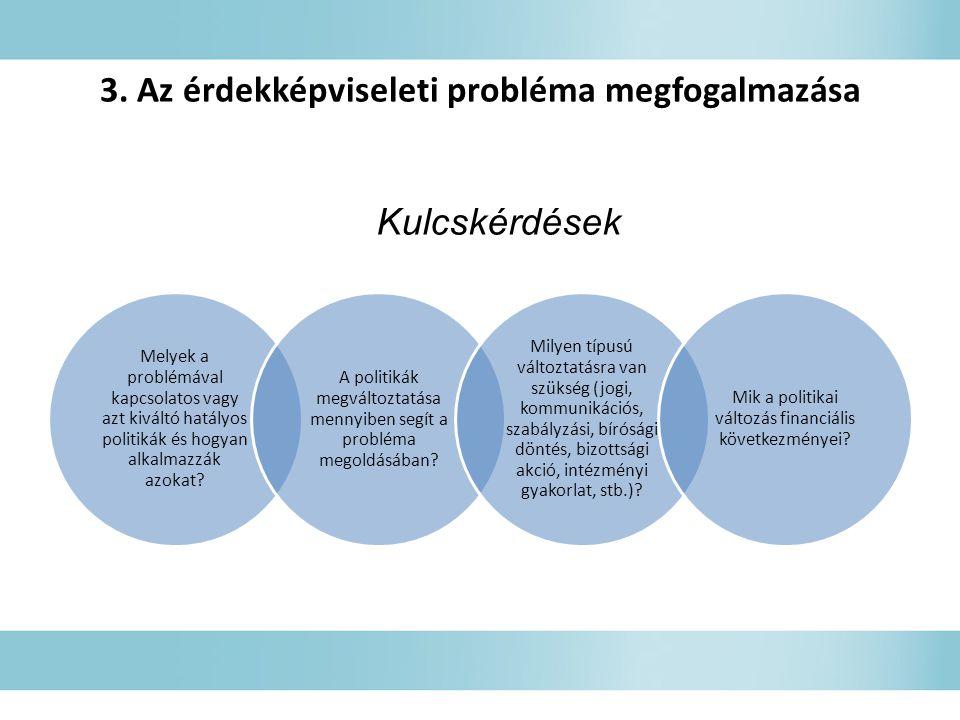 3. Az érdekképviseleti probléma megfogalmazása Melyek a problémával kapcsolatos vagy azt kiváltó hatályos politikák és hogyan alkalmazzák azokat? A po