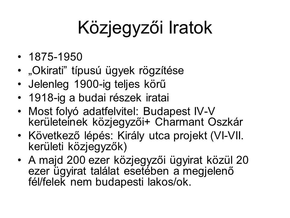 """Közjegyzői Iratok 1875-1950 """"Okirati típusú ügyek rögzítése Jelenleg 1900-ig teljes körű 1918-ig a budai részek iratai Most folyó adatfelvitel: Budapest IV-V kerületeinek közjegyzői+ Charmant Oszkár Következő lépés: Király utca projekt (VI-VII."""