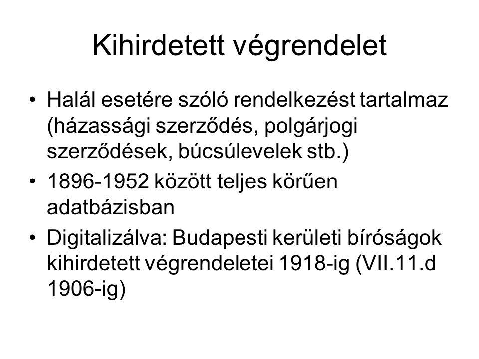 Kihirdetett végrendelet Halál esetére szóló rendelkezést tartalmaz (házassági szerződés, polgárjogi szerződések, búcsúlevelek stb.) 1896-1952 között teljes körűen adatbázisban Digitalizálva: Budapesti kerületi bíróságok kihirdetett végrendeletei 1918-ig (VII.11.d 1906-ig)