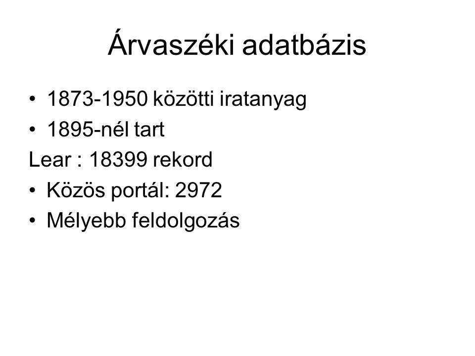 Árvaszéki adatbázis 1873-1950 közötti iratanyag 1895-nél tart Lear : 18399 rekord Közös portál: 2972 Mélyebb feldolgozás