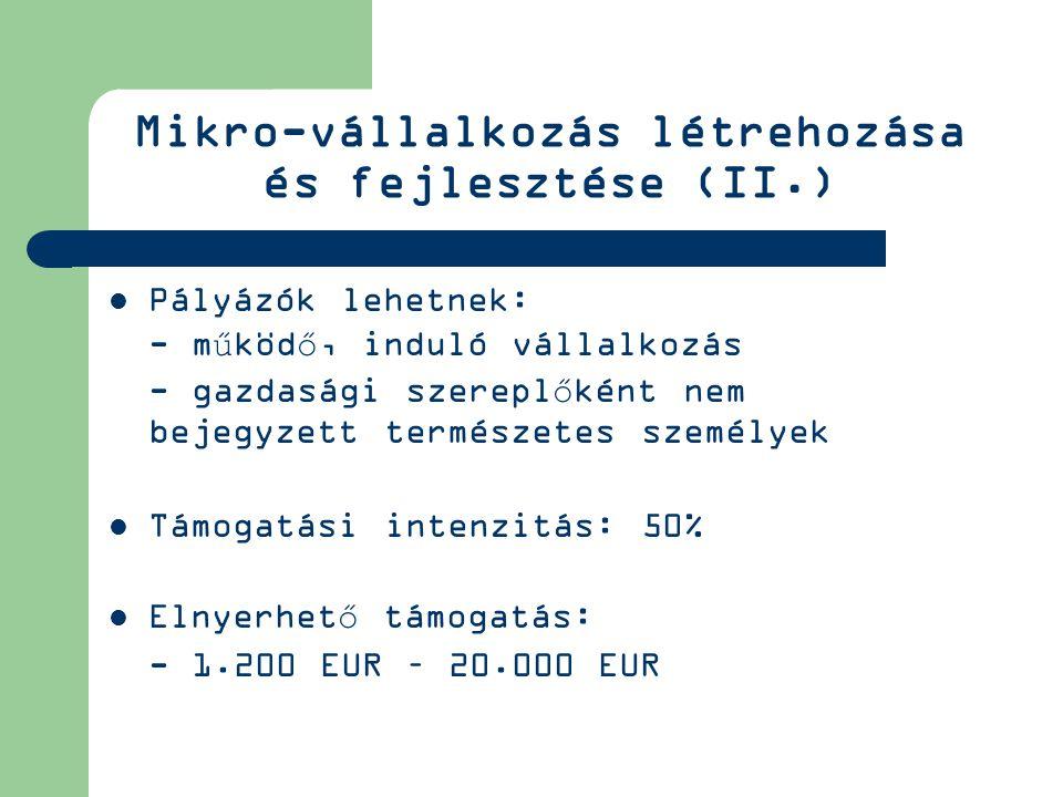 Mikro-vállalkozás létrehozása és fejlesztése (II.) Pályázók lehetnek: - működő, induló vállalkozás - gazdasági szereplőként nem bejegyzett természetes személyek Támogatási intenzitás: 50% Elnyerhető támogatás: - 1.200 EUR – 20.000 EUR